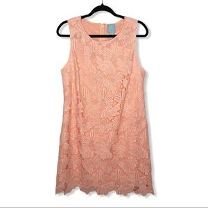CECE / pink floral lace sleeveless shift dress